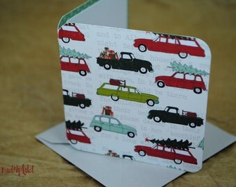 Blank Mini Holiday Set of 10 Cards, Vintage Vehicles with Trees and Gifts, Polka Pattern on the Inside, Gray Envelopes, mad4plaid