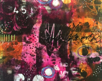 Original Abstract Painting Acrylic Ink Vibrant Colors