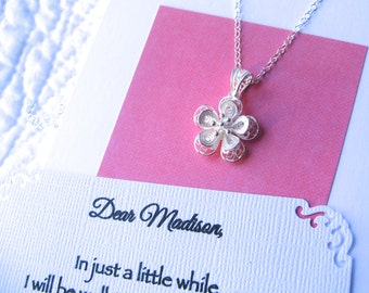 FLOWER GIRL NECKLACE Sterling Silver Flower Girl Gift for Flower Girl Includes Poem Card and Decorated Box in Wedding Palette Ready to Ship!