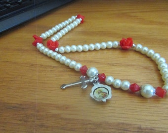 religious pearl rose necklace