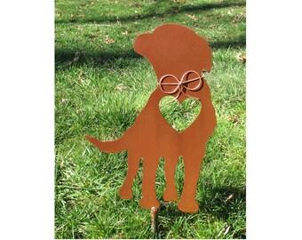 Labrador Retriever Dog Metal Garden Stake - Metal Yard Art - Metal Garden Art - Pet Memorial