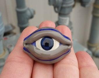 Blue and Grey Three Sided Evil Eye Lampwork Glass Bead