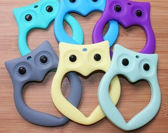 Silicone Owl Teether - choose your colour - teething shape for baby toys