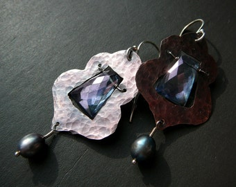 Morrocan earrings - copper, sterling silver, blue mystic quartz and freshwater pearls