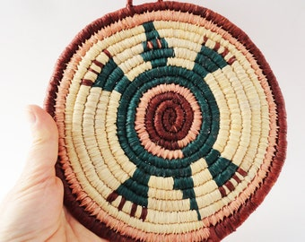 SALE Native American Style Turtle Plaque, Woven Wall Hanging