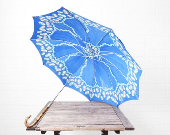 Vintage Blue 1950s Umbrella - Bamboo Cane Handle - 50s Abstract Floral Parasol - Walking Stick Umbrella - Bright Summer Umbrella - Kids