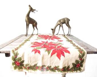 Vintage Christmas Table Runner - Linen Poinsettia Fabric Centerpiece - Mid Century Cloth Holiday Hosting - Host Hostess Gift - Dinner Decor