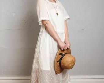 ON SALE Antique Swiss Dot Dress