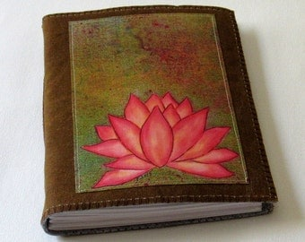 Pink Lotus journal -  waxed brown canvas mid size journal