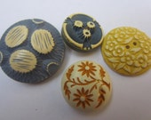Vintage Buttons - Cottage chic mix of blue and yellow buffed celluloid, medium to large flowers,  lot of 4 (oct 100)