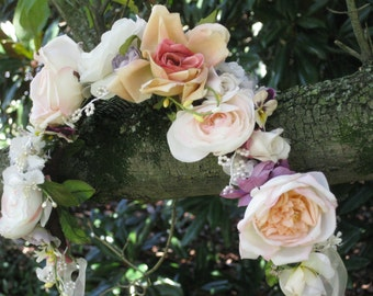 Reserved for Donna Custom Floral Crown English Garden Style Crown of Fowers