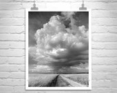 LIMITED EDITION NUMBERED, Black and White Landscape Photography, Fine Art Sky Photography, Country Roads, Thunderstorm Art, Murray Bolesta