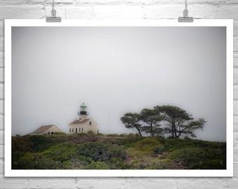 Point Loma, San Diego Art, Lighthouse Art, Pt Loma, California Coast, Cabrillo, Foggy, Southern California Art, Art for Living Room