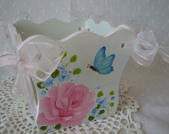Hand Painted Wood Decorative Planter Flower Pot Pink Roses Aqua Butterfly Blue Flowers