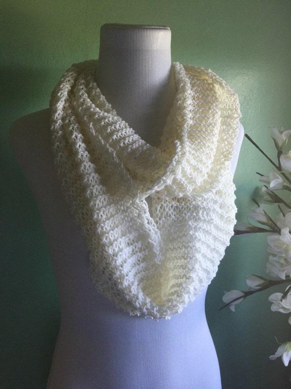 Hand Knit Merino Wool Lightweight Infinity Scarf Cream