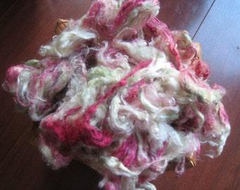 Hand Dyed Silk Noil, Celery Green Silk Noil, Orchid Pink Silk Noil, Silk for Spinning, Silk for Felting, Silk for Fiber Art, Pink Green Silk