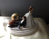 New Orleans Saints Wedding Cake Topper Bridal Funny Football  team  Football Themed with matching garter