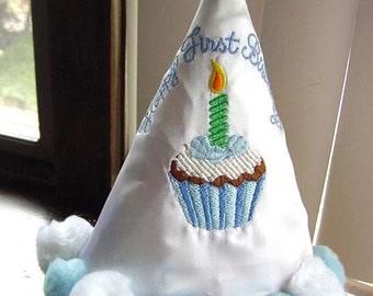 Personalized Boys Blue Happy First Birthday Cupcake Party hat With Pom Pom trim