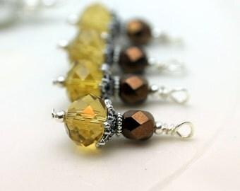Golden Topaz Crystal Rondelle and Copper Czech Beaded Dangle Charm Drop Pendant, Earring Dangle