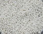 Size 11/0 Vintage Italian Seed Beads - Opaque Porcelain White