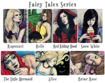 Fairy Tales ACEO Prints Limited Edition Belle Rapunzel Red Riding Hood Little Mermaid Snow White Alice in Wonderland Sleeping Beauty Briar