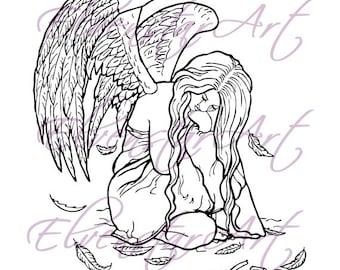 DIGI Stamp Printable Scrapbooking Card Making Crafts Fantasy Gothic Angel Broken Halo Feathers Sad Wings Digital Stamp Download Coloring