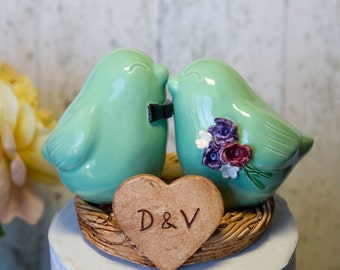 Love Bird Wedding Cake Topper with Bow Tie, Bouquet and Initialized Heart