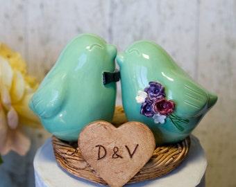 Mint Green Love Bird Cake Topper
