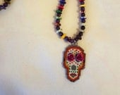 Skull Day of the Dead necklace and beaded pendant