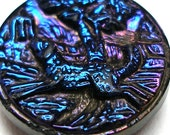 Dog chasing Bird, Antique glass button, Victorian sporting black glass with rainbow luster.