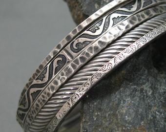 Southwest Set of 5 Hammered Bangles in Sterling Silver, Artisan Handmade Sterling Patterned Bangles 5 Bracelet Set