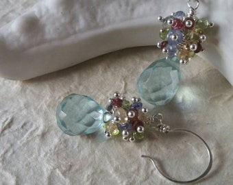 Glorious - Aquamarine Drop, Ruby,  Blue & Yellow Topaz, Peridot Chip Clusters.