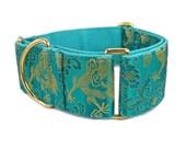 Martingale Dog Collar - Greyhound Dog Collar - Large Dog Collar - Fancy Dog Collar - Green Dog Collar - 2 inch Martingale Collar