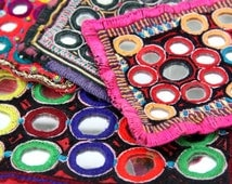 Banjara  Kutch Patches,  Gypsy Patchwork Mirrors Vintage Rajasthan, Assorted set of 4, Tribal Textiles