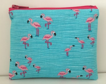 Flamingo Coin Purse - Pink Birds Cotton Change Purse - Small Zipper Pouch