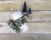 Coffee Cozy & Keychain Gift Set - Java Jacket - Vintage Plaid Thermos - Key Fob - Gift under 20 - Stocking Stuffer