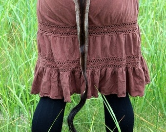 Antelope tail - real African antelope fur totem tail on recycled braided leather belt loop for shamanic dance, ritual and more