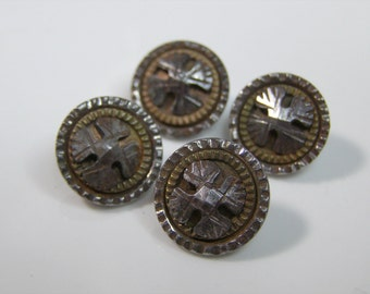 4 Antique Iron Cross Buttons-3 Layers Metal