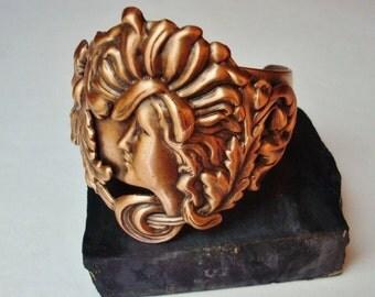 Cuff Bracelet, Art Nouveau Design, Lovely Copper Ox Patina, Custom Handmade, Metal Bonded NOT Glued Together, Signed, One Of A Kind, USA