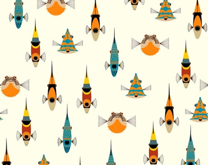 Maritime - Tropical Fish by Charley Harper for Birch Fabrics - Double Gauze Fabric