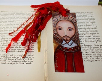 Saint Ignatius-  Laminated Bookmark  Handmade - Original Art by FLOR LARIOS