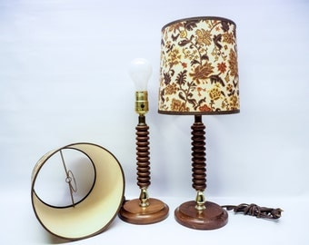 Pair of wooden lamps with 1960s floral shades