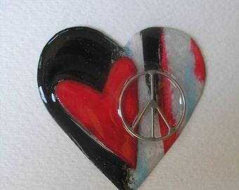 Signed Dalton Modernist Open Peace Heart Pin Pendant