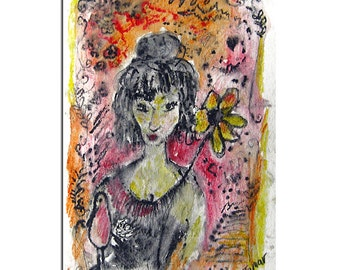 Watercolor Cards, Woman with a flower, Flower Card. Hand Painted Watercolor Card