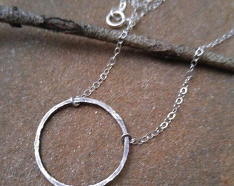 "20mm Hammered Sterling Infinity Ring on 16"" SterlingChain"