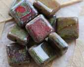 RED LICHEN SQUARES .. New 10 Premium Picasso Czech Glass Beads 10.5mm (4971-10)