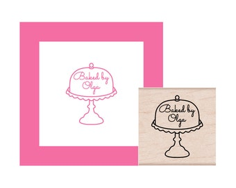 Covered Cake Plate with Personalization Rubber Stamp
