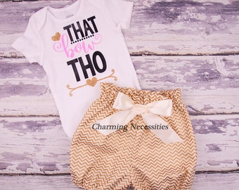 Toddler Girl Clothes, Baby Girl Outfits, Baby Girl Bloomers, That Bow Tho Trendy Glitter Shirt and High Waist Bloomers Gold Chevron