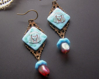 Egyptian Revival Earrings, Long Dangle Earrings, Turquoise Blue Red Earrings, Pharaoh King Earrings, Vintage Assemblage Earrings