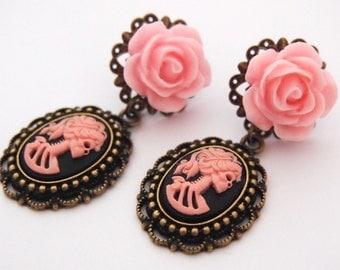 Dangle Earrings Pink Skeletina Cameo Dangle Stud Earrings Dark Mourning Pastel Goth Chic